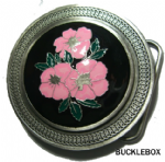 PINK CELTIC FLOWERS Belt Buckle + display stand